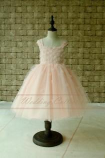 wedding photo - Blush Flower Girl Dress With Handmade Flowers and Pearls