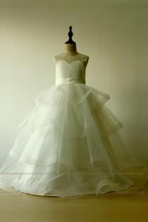 wedding photo - Layered Tulle Simple A Line Princess Flower Girl Dress Full Length