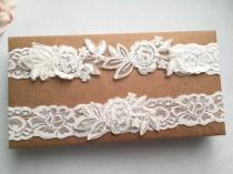 wedding photo - Wedding Garter , bridal garter, off white Lace Garter, A19#