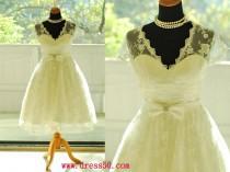 wedding photo - 50shouse_ 50s inspired retro feel V neckline lace tea wedding dress with sash_ custom make