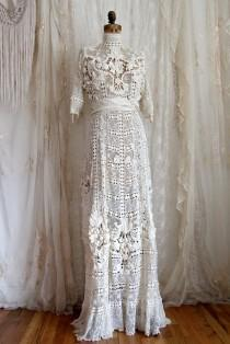 wedding photo - Authentic Antique Wedding Gown / Titanic / Irish Crochet / Ivory / Hand Made / Bridal Gowns and Separates / Size M