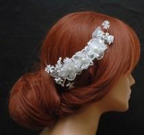 wedding photo - White Silk Flower Hair Comb, Wedding Hair Comb, Floral Bridal Comb, Wedding Hair Accessories, Pearl Hair Comb, Crystal Headpiece - $35.00 USD