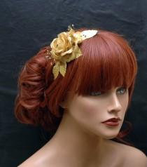 wedding photo - Flower Gold Headband, Bohemian Headband, Gold Hair Accessories, Bridal Headband, Wedding Hair Accessories - $28.00 USD