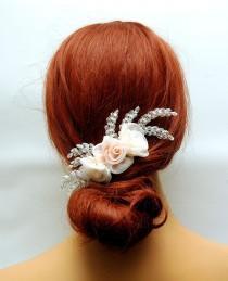 wedding photo - Wedding Flower Hair Comb, Blush Pink Peach Organza Flower Headpiece, Rustic Wedding Hair Piece, Bohemian Bridal Hair Comb, One of a Kind - $30.00 USD