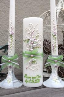 wedding photo - Beautiful wedding unity candle set in lavender and green, perfect set for your unity ceremony, wedding candle set for your reception