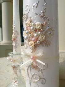 wedding photo - Beautiful wedding unity candle set in ivory and blush pink, perfect set for your unity ceremony