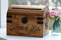 wedding photo - Wooden Card Box, Rustic Card Box With Slot, Bridal Shower Card Holder, Wedding Keepsake Chest, Custom Keepsake Trunk, Shabby Chic Wedding