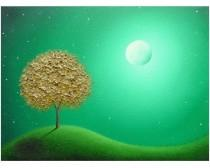wedding photo - Gold Tree Oil Painting, Modern Abstract Landscape, Green Night, ORIGINAL Tree Painting, Textured Contemporary Art, Whimsical Moon Art, 12x16