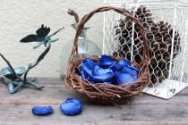 wedding photo - Beautiful satin rose petals in royal blue, you choose quantity, handmade wedding rose petals, custom colors