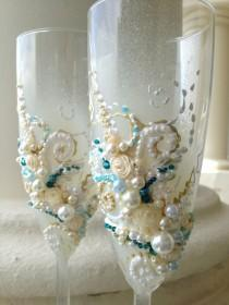 wedding photo - Beautiful wedding champagne glasses in ivory, aqua and teal, elegant toasting flutes with pearls and roses