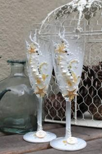 wedding photo - Beach Wedding champagne glasses, hand decorated unique Starfish toasting flutes in white, ivory and tan with rhinestones, wedding gift