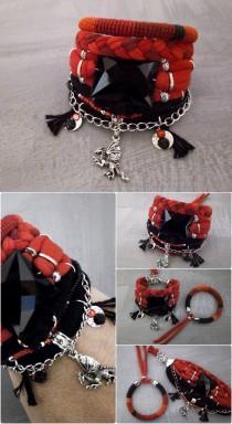 wedding photo - Carmen Boho Bracelet Set, Red Black Bohemian Bracelet, Hippie Bracelet Dragon Charm, Hot Gypsy Jewelry Fiesta Bracelet