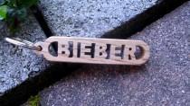 wedding photo - FREE SHIPPING Handmade Bieber Wooden Keychain