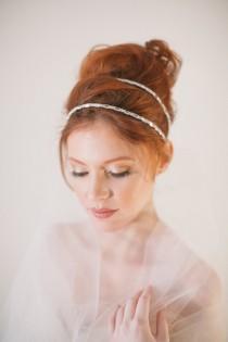wedding photo - Double strand headband, VOLE MON AMOUR wedding, rhinestones, headband, bridal, wedding, bride, hair accessory, bridesmaid, hair bun