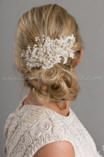 wedding photo - Bridal Lace Hair Comb, Pearl and Crystal Headpiece, Wedding Hair Accessory - Kenesha
