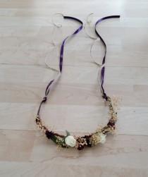 wedding photo - Toddler halo dried flower headband style hair wreath mini flower crown plum purple Woodland Rustic chic wedding bridal girl accessories