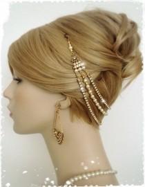 "wedding photo - Gatsby Inspired Gold Hair Drape Headpiece-1920s Art Deco Wedding Headband-Boho Bridal Crystal Pearl Hair Wrap-Flapper Head Chain-""CHIARA"""