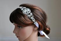 wedding photo - Wedding Hair Accessory, Beaded Headband, Bridal Headband, Crystal Ribbon Headband, rhinestone headband, hair accessories, accessory, bridal