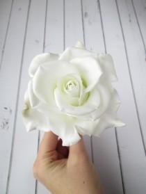 wedding photo - White Rose Hairpin - Flowers hair pin accessories - Rose Hair Piece - Bride Hair Decoration Wedding Real Flower - Bridal hair embellishments
