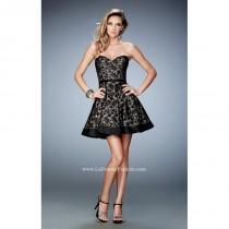 wedding photo - Black/Nude La Femme 22235 - Short Lace Dress - Customize Your Prom Dress