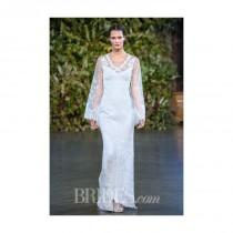 wedding photo - Claire Pettibone - Fall 2015 - Emmanuel Lace Sheath Wedding Dress with Long Sleeves and a V-Neckline - Stunning Cheap Wedding Dresses