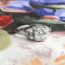 wedding photo - Vintage Diamond Engagement Ring 1940's Retro Granat Bros. Old Transitional Cut Diamond Engagement Wedding Anniversary Ring Platinum
