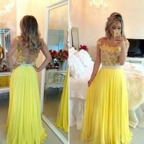 wedding photo - yellow prom Dress,lace Prom Dresses,long prom dress,evening dress,charming prom dress,BD1671
