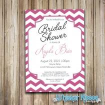 wedding photo - Bridal Shower Wedding Invitation, Miss to Mrs, Bridal Brunch, Chevron, Pink, Custom Color, DIY Printable PDF or Professionally Printed