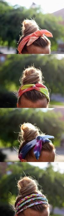 wedding photo - DIY Tie Dye T-Shirt Headbands