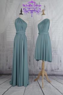 wedding photo - long Infinity Dress Evening Dresses  Stone blue Bridesmaid Dress-B15#C15#