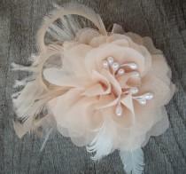 wedding photo - Bridal Fascinator, Chiffon Flower, Wedding Hair Clip, Blush Ivory, Ivory Hair Clip, Wedding Comb, Bridal Comb, Flower Comb, Flower CLip