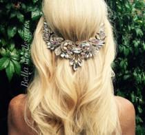 wedding photo - Gold Wedding hair jewelry, Hair chain accessory, bridal hair chain, AB clear crystal jewels and gold chain, Boho wedding head piece. Beach