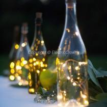 wedding photo - DIY Wedding Lantern, Wedding Centerpiece, Wine Bottle Decor, Centerpiece, Wine Bottle Centerpiece, Wine Theme Wedding, String lights ONLY