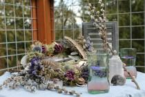 wedding photo - custom centerpiece wreath, dried flower centerpiece, purple wedding centerpiece, lavender centerpiece, lavender wreath, abalone wedding, eco