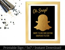 wedding photo - Snapchat Filter Sign / Printable Snapchat Geofilter Sign / Gold Foil and Black / Gold Snapchat Sign/ Use Our Filter