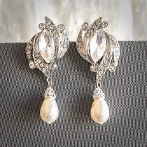 wedding photo - 60% OFF SALE, Crystal Bridal Earrings, Art Deco Wedding Earrings, Art Deco Dangle r Earrings, Swarovski Pearl Drop Dangle Jewelry, FANCHONE