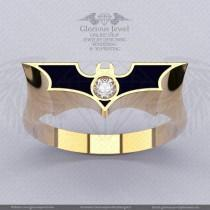 wedding photo - Glorious Batman inspired ring with CZ stone and Enamel / 925 silver / 14K Gold / Custom made / FREE SHIPPING / Made to Order