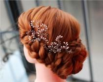 wedding photo - Bridal Hair Pin Set, Wedding Hair Accessories, Crystal Hairpins, Set of 2 hair pins, Glass Crystals Hair pins, Bridal accessories, Pearl pin