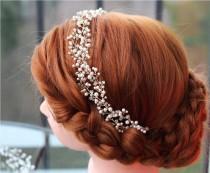 wedding photo - Wedding headband, Pearl Bridal headband, Pearl headband, Bridal headband, Bridal halo, Pearl hair vine, Bridal hair accessories, Tiara