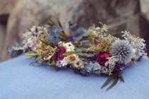 wedding photo - custom bridal crown, dried flower crown, woodland flower crown, lavender bridal crown, eucalyptus crown, greenery crown, light blue crown