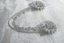 wedding photo - Bridal drape headpiece, wedding jewellery,  diamanté headpiece,  bridal combs,  draped headpiece, hair chains, hair jewellery,  vintage