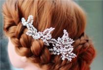 wedding photo - Rose gold hair pin, wedding hair accessories, hair pins, bridal hair accessories, wedding hair pins, White glass beads Hairpins, Hairpin Set