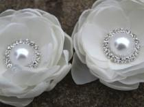 wedding photo - Cream White Colored Flower Hair Pins - Brooches Set of 2