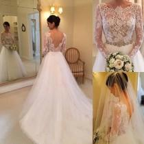 wedding photo - A-line Long Sleeves Beading Lace Court Train Wedding Dress WD061