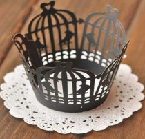 wedding photo - 50x Black Birdcage Cupcake Wrapper for Wedding Party Cake Tree  Decoration