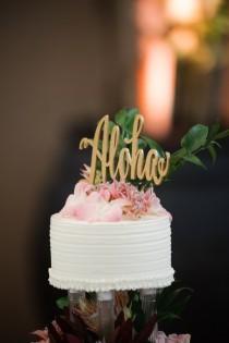 wedding photo - Aloha Cake Topper, Cake Topper for Wedding, Wedding Cake Topper, Hawaii Wedding Cake Topper, Hawaii Party, Hawaii Party, Aloha, Hawaii Decor