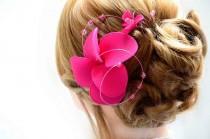 wedding photo - Fuchsia fascinator Hot pink headpiece Flower girl headnband fascinator Head piece Hair flower Bridal headpiece Wedding hair accessories