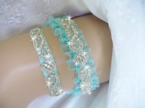 wedding photo - Garter, Aqua Wedding Garter Set, Bridal Garter Belts, Toss Garter, Wedding Garder, Something Blue Organza Garter, Rhinestone Wedding Garter