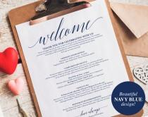 wedding photo - Navy Wedding Itinerary, Welcome Bag, Printable Itinerary, Welcome Letter, Favor, Blue Wedding Printable, PDF Instant Download #BPB320_53
