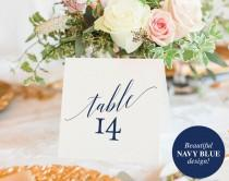 wedding photo - Table Numbers Printable, Table Numbers Wedding, Table Number Template, Navy Blue Wedding Printable, Blue, PDF Instant Download #BPB320_7